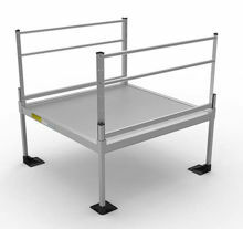 5x5 Pathway 3G Ramp System platform with two handrails.