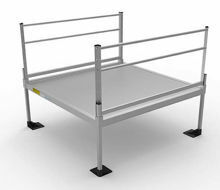 6x6  Pathway 3G Wheelchair Ramp System platform with two handrails.